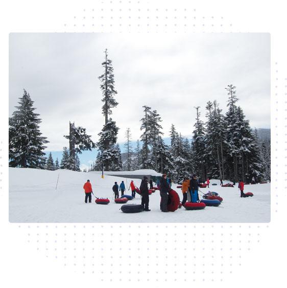 near camp - sledding